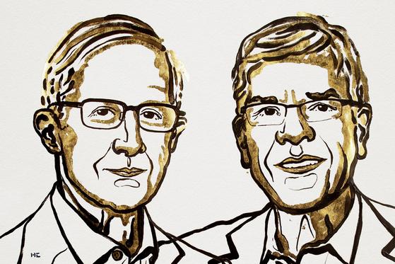 올해 노벨경제학상을 받은 윌리엄 노드하우스 예일대 교수(왼쪽)와 폴 로머 뉴욕대 교수. [일러스트=Niklas Elmehed, 노벨 미디어 AB 2018 ]