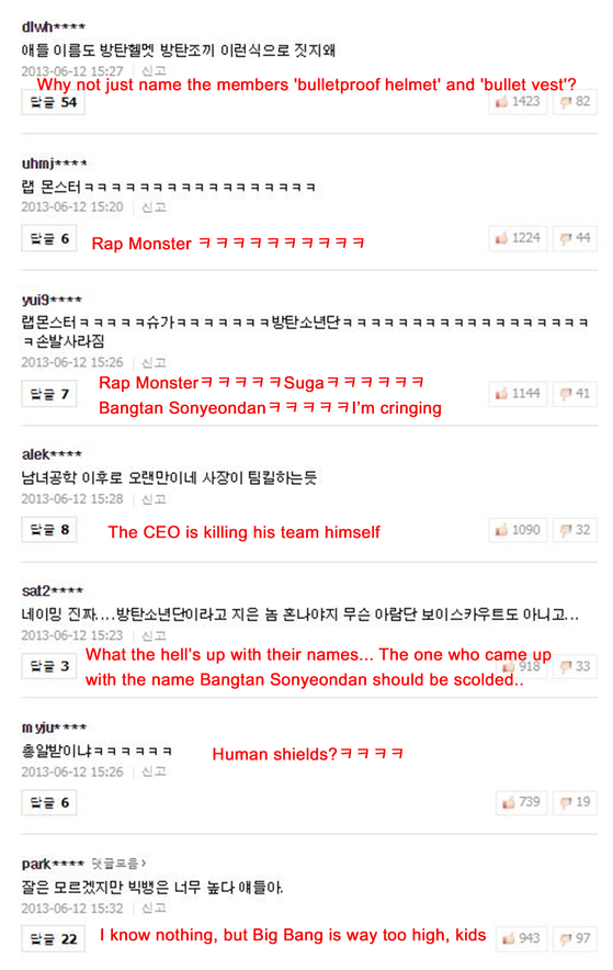 Comments written under BTS' debut article on June 12, 2013, Photo from Naver Screenshot