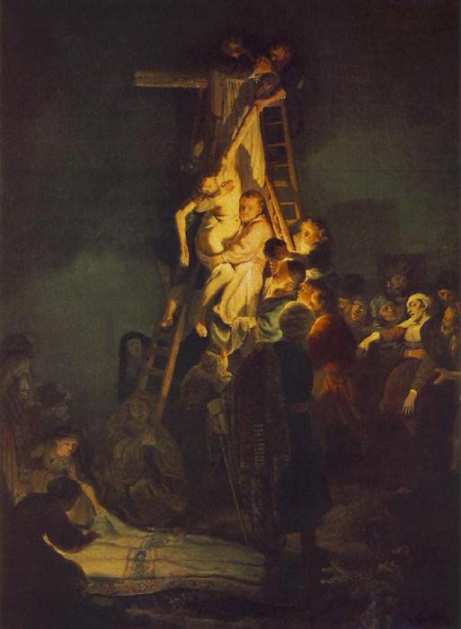 십자가에서 숨을 거둔 예수의 주검을 내리고 있다. 오른쪽에는 정신을 잃고 쓰러지는 예수의 어머니 마리아가 보인다.