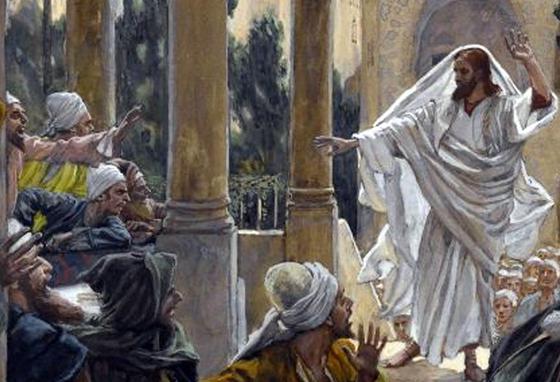 제임스 티소의 작품 '바리새인들을 꾸짖는 예수'. 예수는 '신의 속성'을 알아보지 못하는 바리새인들의 온갖 물음에 답을 하기도 했지만, 심하게 꾸짖기도 했다.