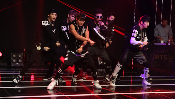 BTS on their first debut showcase day, Photo from Ilgan Sports