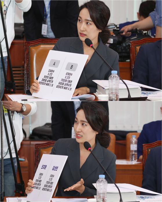 김수민 의원이 선동열 감독에게 A,B 선수중 누굴 뽑겠냐고 묻고 있다.B선수(김선빈)의 타율이 높긴 하지만 김 의원이 제시한 자료는 2017년 성적이라 논란을 일으켰다. [뉴스1]
