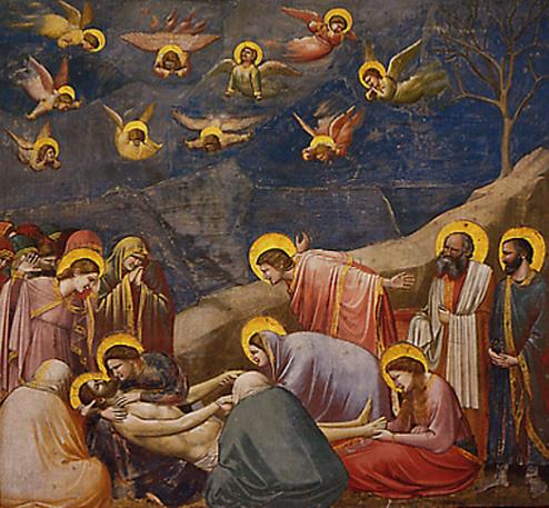 십자가에서 내린 예수의 주검을 땅위에 누이고 있다. 슬퍼하는 사람들 머리 위로 슬퍼하는 천사들이 보인다.