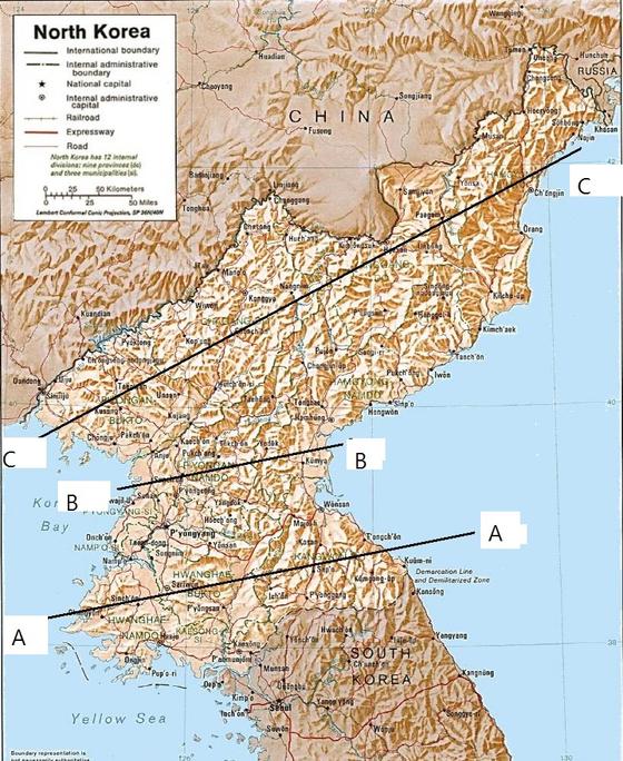 38선 이북은 황해도지역을 지나는 A-A선에서 넓어졌다가 청천강 부근의 B-B선에 대폭 축소되고 난 후 함경도 북부지역을 포함하는 C-C선에 이르러서는 대폭 확대되는 지형이다. 따라서 신중한 진격 방법을 선택해야 했다. [사진 남도현]