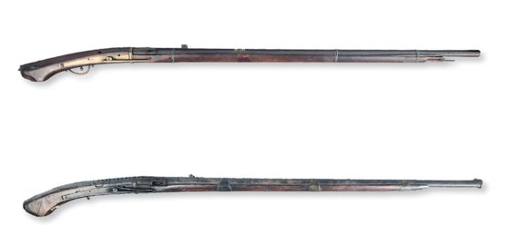 조선시대 일본에서 수입한 것으로 추정되는 조총. 기존의 총통과는 달리 방아쇠를 당기면 화승이 끼워져 있는 용두가 앞으로 넘어져 점화하여 탄환이 발사되는 화승총이다. [사진제공=강화전쟁작물관]