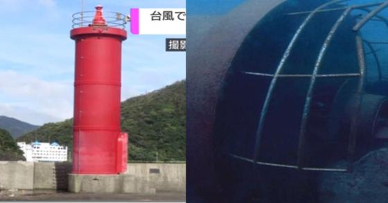 태풍 '짜미'로 감쪽같이 사라졌던 일본 나제항의 등대가 250m 떨어진 해저에서 발견됐다고 일본 NHK 방송이 14일 보도했다. [사진 NHK 방송화면 갈무리]