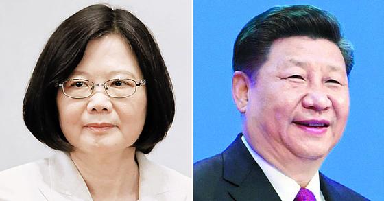 차이잉원 대만 총통(左)ㆍ시진핑 중국 국가주석(右). [중앙포토]
