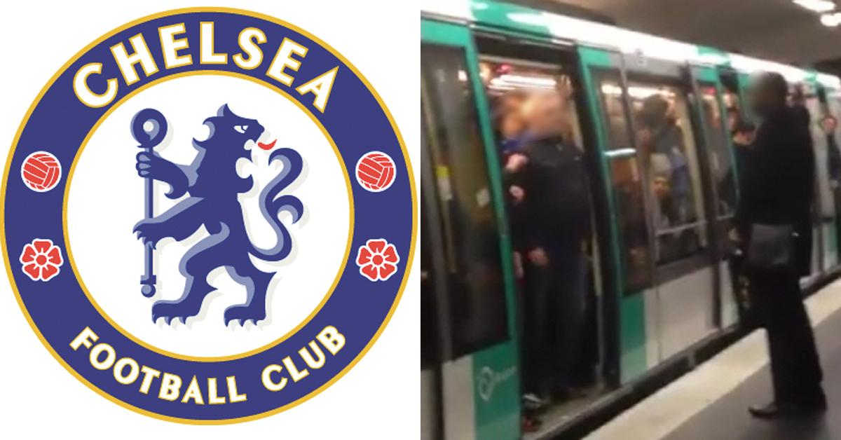 첼시 FC 엠블럼(왼쪽)과 지난 2015년 2월 파리 지하철역에서 흑인을 가로 막아선 첼시 팬들(오른쪽) [중앙포토, 유튜브 캡처]