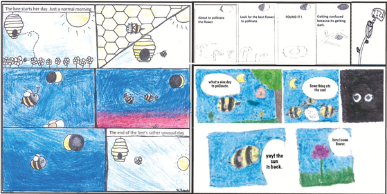 """이번 개기일식과 꿀벌 연구에는 초등학생들도 참여했다. 연구를 진행한 캔디스 갈렌 미주리대 생물학과 교수는 """"아이들은 연구에 참여하기 전부터 개기일식이 일어나면 밤인줄 알고 벌이 행동을 멈출 것으로 예측했다""""고 밝혔다. 사진은 아이들이 연구결과를 바탕으로 그린 그림 [사진제공=Annals of the Entomological Society of America]"""