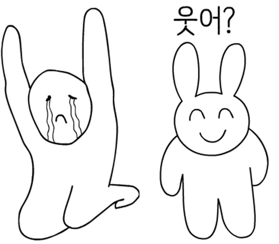 (좌) 감정이 풍부한 아이, (우) 스마일 토끼