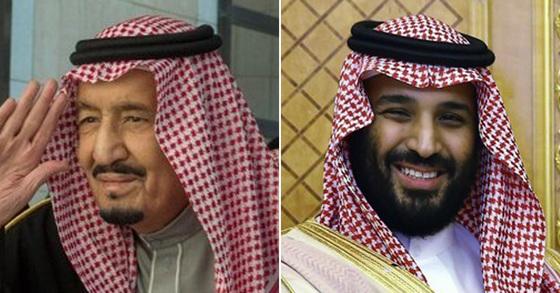 살만 사우디 국왕(왼쪽)과 무함마드 사우디 왕세자(오른쪽) [SPA통신=연합뉴스]