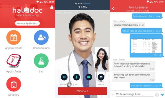 인도네시아의 원격 진료 서비스인 '할로닥'을 이용하면 화상통화나 채팅을 통해 의사에게 진찰을 받을 수 있다. [사진 할로닥]
