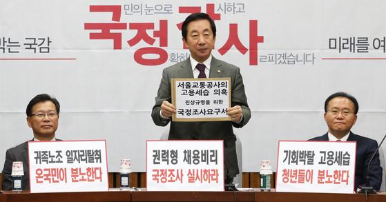 자유한국당 김성태 원내대표(가운데) 19일 오전 국회에서 열린 국정감사 대책회의에서 서울교통공사의 고용세습 의혹 진상규명을 위한 국정조사요구서를 들어보이고 있다. [연합뉴스]