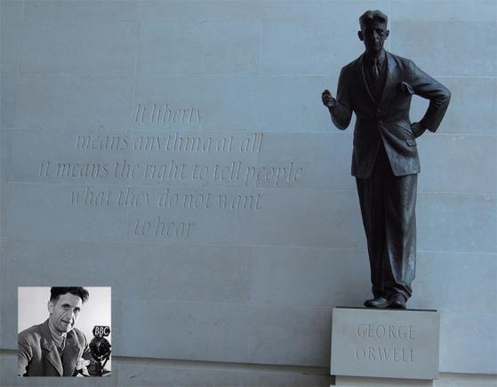 (왼쪽아래)제2차 세계대전 초기, BBC 방송국에 근무할 당시의 조지 오웰. / 영국 런던의 BBC 건물 외벽에 새겨진 조지 오웰의 글귀와 동상.