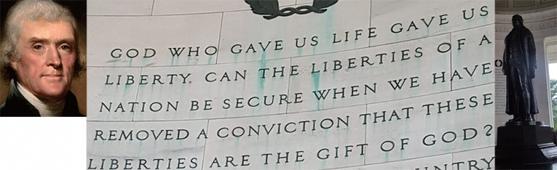 (왼쪽부터)미국 3대 대통령 토머스 제퍼슨의 초상화. / 워싱턴DC에 있는 제퍼슨 메모리얼에 새겨진 글귀와 제퍼슨의 동상.