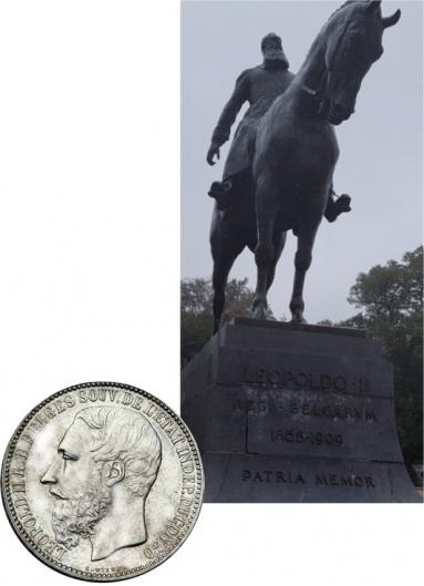 벨기에 국왕 레오폴드 2세 동상(브뤼셀)과 '콩고자유국' 주화.