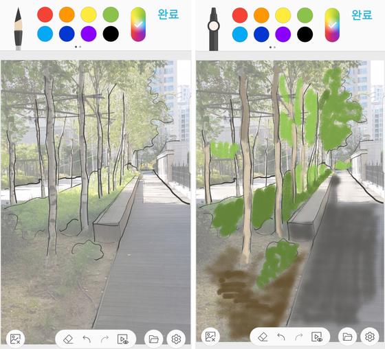 드로잉팁 3. 브러쉬와 색상 선택 후 대략적인 선을 따서 밑그림을 완성한다. 이때 생략하고 싶은 부분은 과감히 생략한 후 표시된 부부을 클릭한다. [사진 홍미옥]