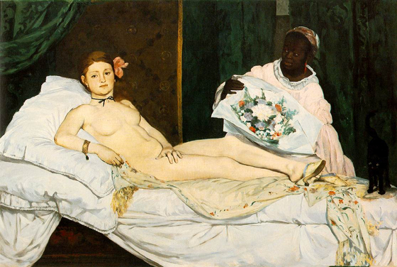 에두아르 마네의 올랭피아(Olympia, 1863). 1865년 마네가 올랭피아를 살롱전에 출품했을 때 심사위원들은 충격을 받았다. [사진 위키피디아(퍼블릭 도메인)]