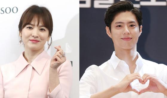 다음 달 방송 예정인 tvN 드라마 '남자친구'의 주연 배우 송혜교(37)와 박보검(25) [사진 일간스포츠]