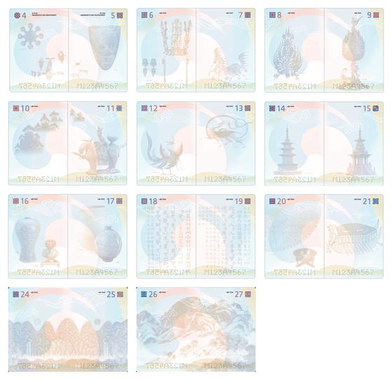 2020년부터 발급할 예정인 차세대 전자여권의 사증면 . 현행 여권 속지의 전체 동일한 디자인에서 쪽수별로 시대별 대표적 유물을 담은 디자인으로 변경된다. [중앙포토]