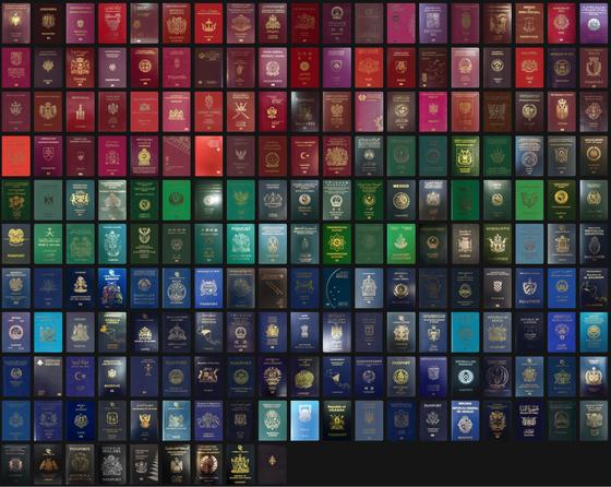색깔별로 구분한 각국의 여권 표지. [패스포트 인덱스 캡처]