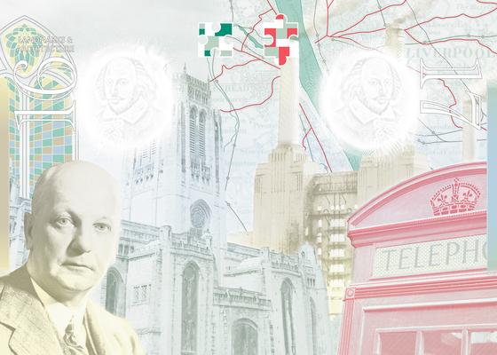 2015년부터 사용 중인 영국 여권의 사증면 디자인 일부. 영국 500년 근대사를 압축하는 대표적인 건축·발명품과 이에 기여한 사람들이 그려져 있다. [중앙포토]