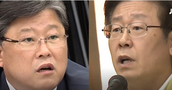 지난 2014년 국정감사 모습. 조원진 대한애국당 의원과 이재명 당시 성남시장. [JTBC 정치부 회의 화면 캡처]