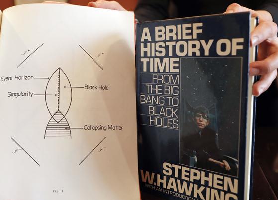 경매에 나오는 호킹 박사의 베스트셀러 『시간의 역사(A Brief History of Time)』 엄지손가락 서명본. [AP=연합뉴스]
