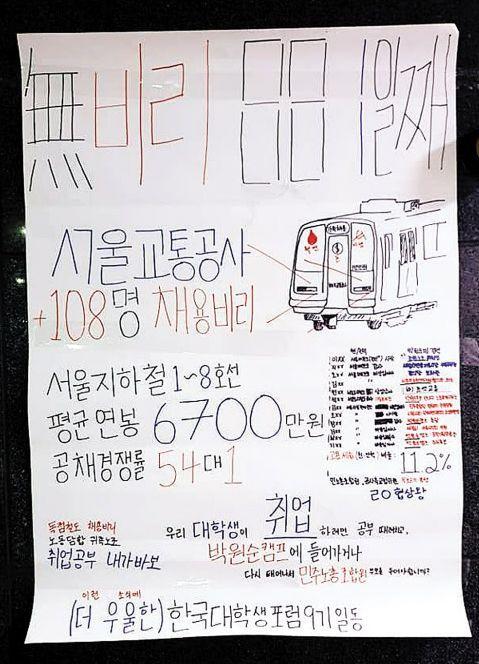 한국대학생포럼이 지난 23일 서울시청 시민청 입구에 서울교통공사 채용비리 의혹을 규탄하는 대자보를 붙였다. [한국대학생포럼 페이스북 페이지]