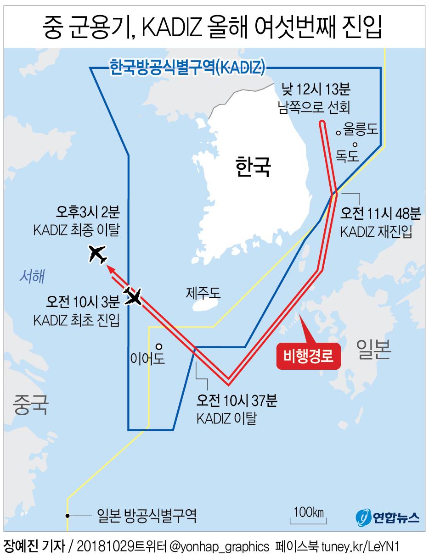 중국 군용기 1대가 29일 제주도 서북방에서 한국방공식별구역(KADIZ)을 진입한 후 강릉 동방 상공까지 북상했다가 이탈했다고 합동참모본부가 밝혔다. [연합뉴스]