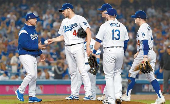 선발 리치 힐(왼쪽 둘째)로부터 공을 건네받는 데이브 로버츠 LA 다저스 감독(왼쪽). [AFP=연합뉴스]