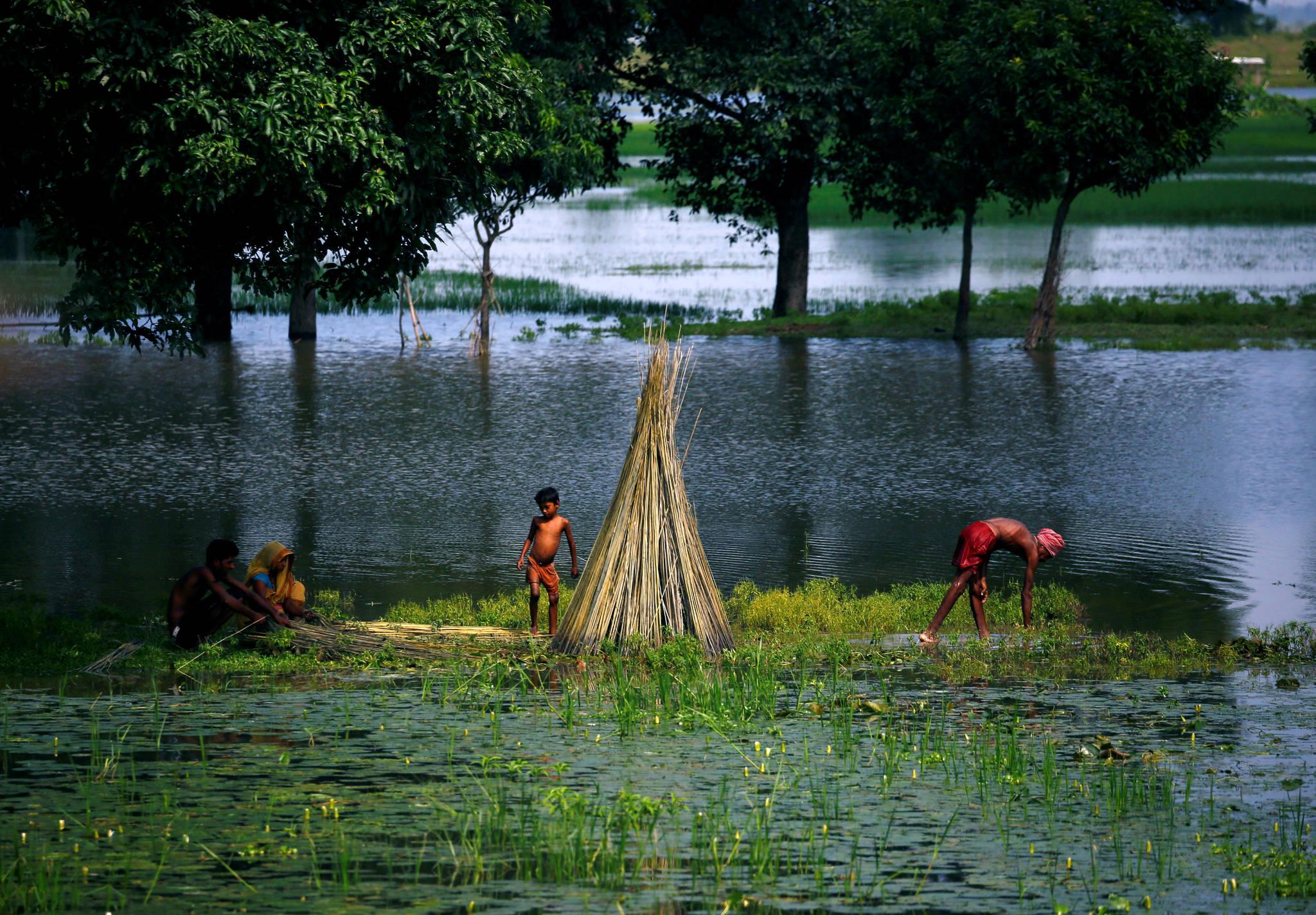 8월 14일. 네팔 대홍수로 집을 잃은 이재민.[REUTERS=연합뉴스/Navesh Chitrakar]