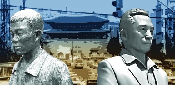 박정희(오른쪽)와 전태일은 각각 국가(자본)와 개인(노동)의 가치를 상징적으로 대변하는 대한민국의 대표적 인물이다. 갈등이 점철된 현대사를 반영하듯 '시대의 불화'는 지금도 계속되고 있다.