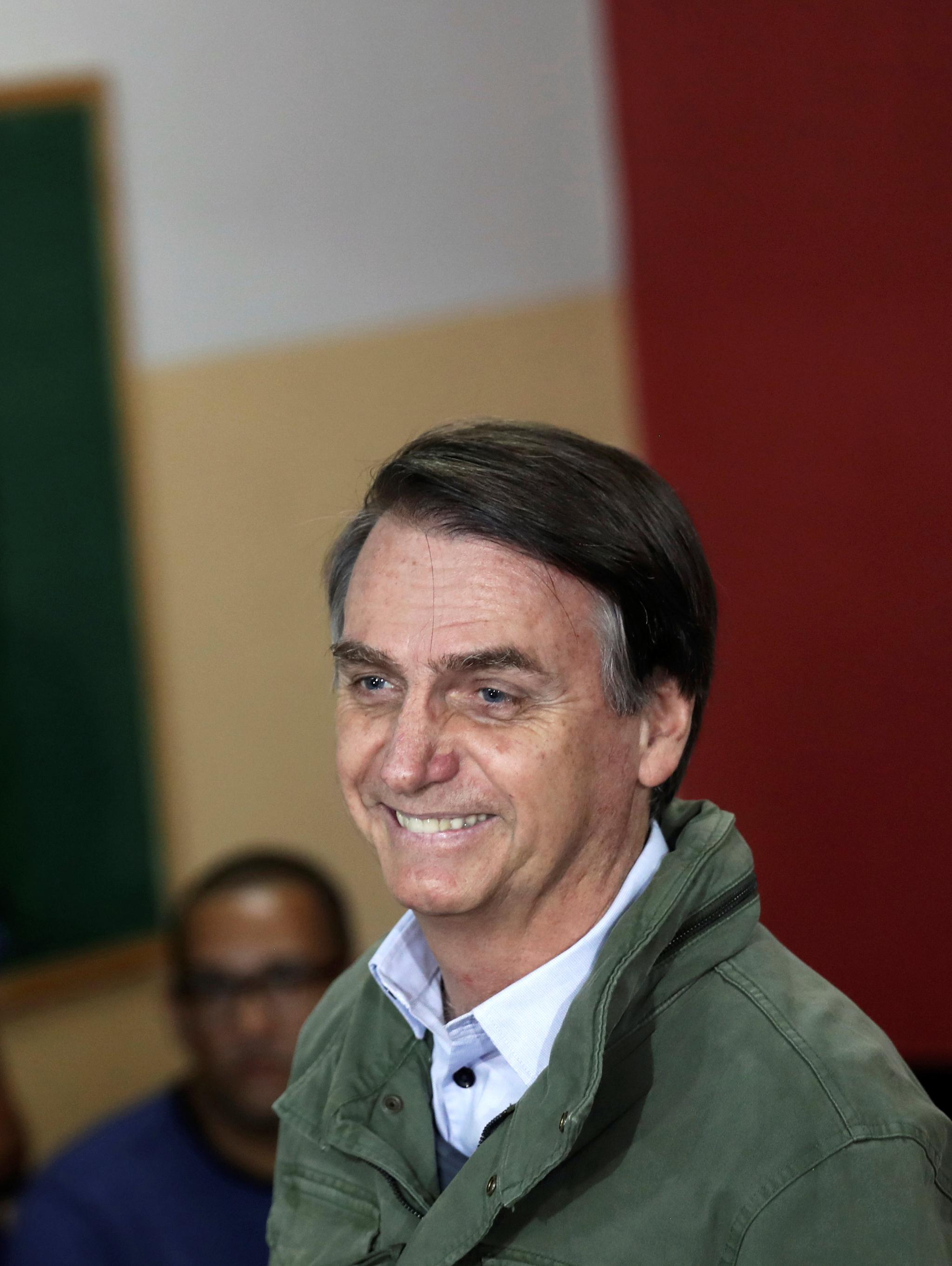 28일(현지시간) 브라질 대선 결선투표에서 승리한 극우 자유사회당(PSL)의 자이르 보우소나루 후보. [REUTERS=연합뉴스]