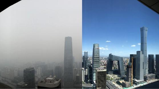 사진 왼쪽은 지난 10월 15일 베이징 번화가 궈마오 고층 빌딩에서 찍은 모습과 오른쪽은 지난 9월 6일 같은 장소에서 찍은 사진이다. [사진=SCMP]