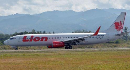 2018년 10월 7일 인도네시아 중앙술라웨시 주 팔루 공항에 내린 라이온에어 여객기. [AFP=연합뉴스]