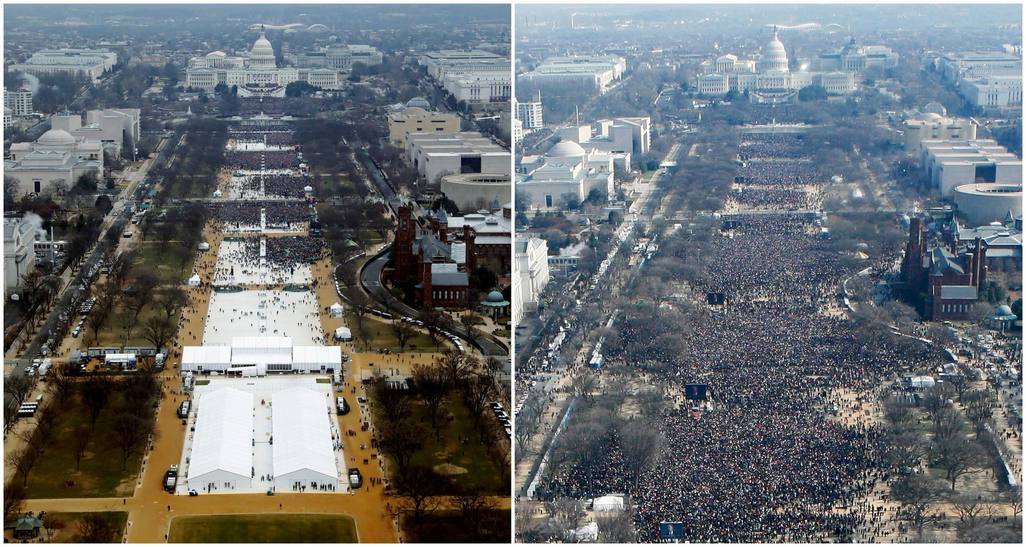 트럼프 대통령 취임식(1월 20일)과 버락 오바마 전 대통령 취임식(2009년 1월 20일)에 참석한 인파를 비교한 사진. [REUTERS=연합뉴스/Lucas Jackson (L), Stelios Varias]