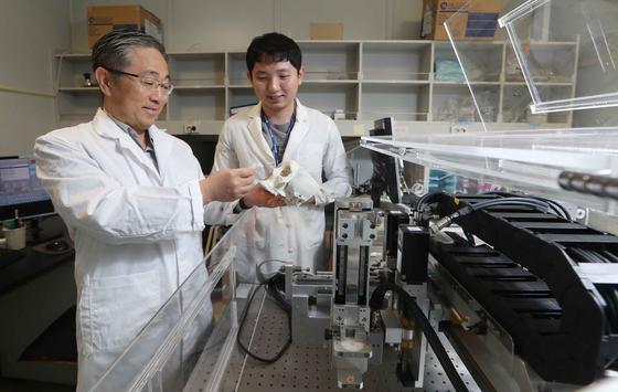 포스텍 기계공학과 조동우 교수가 25일 서울 서초구 반포동 서울성모병원 연구실에서 3D 프린터로 만들어낸 인공 구조물을 살펴보고 있다. 하이드로젤 형태의 바이오잉크와 3D 프린터는 조 교수 연구팀이 독자 개발했다. 김상선 기자