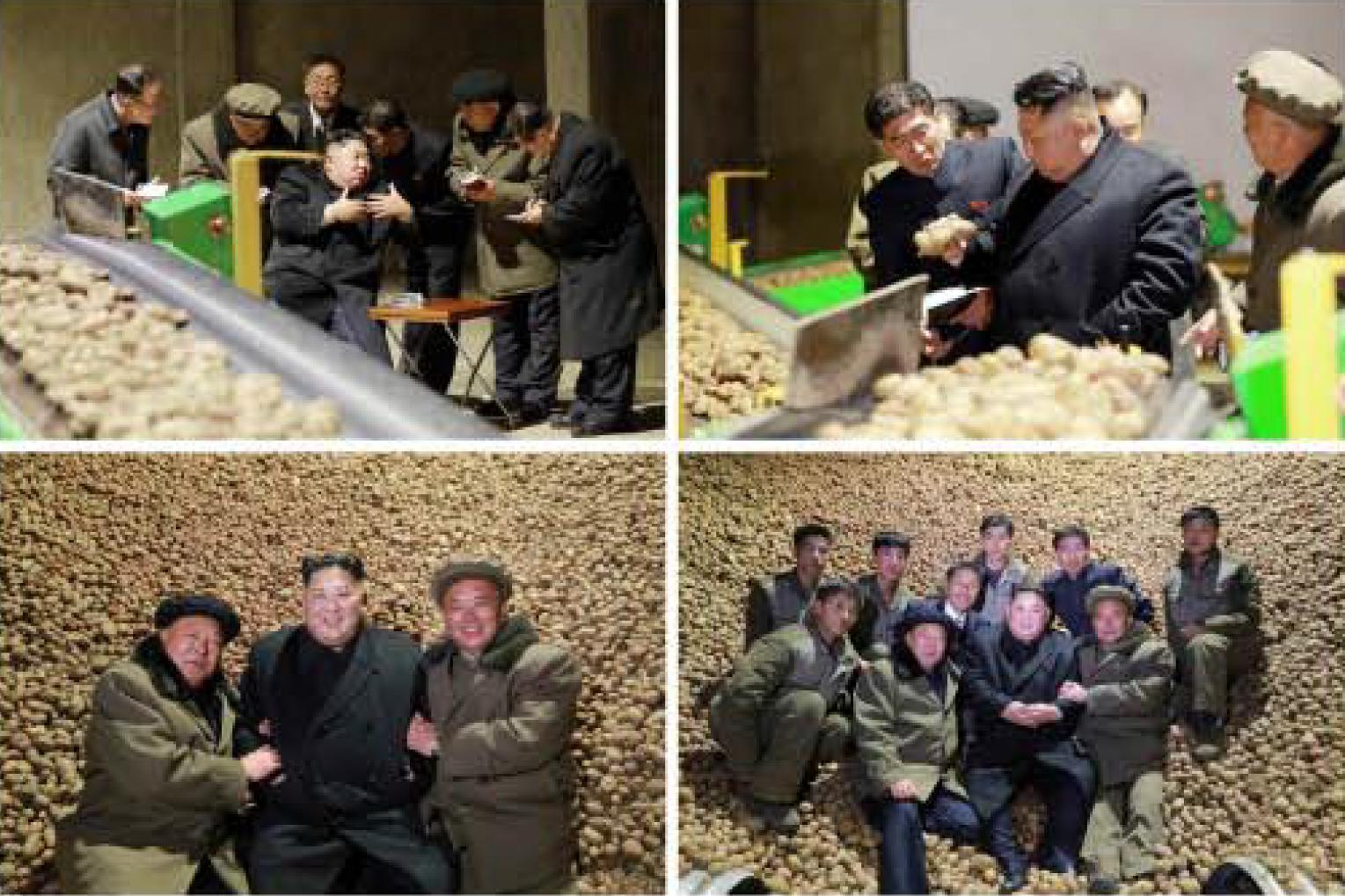 노동신문은 김정은 국무위원장이 삼지연 감자가루 생산공장을 현지지도하는 사진과 근로자들과 기념사진을 찍는 장면도 함께 보도했다.[연합뉴스]