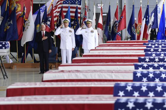 지난 8월 1일(현지시간) 미국에 도착한 6.25 참전 미군 전사자 유해 55구. [AP=연합뉴스]