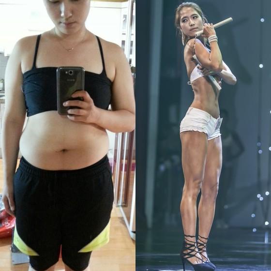 다이어트 전 70kg대 였던 몸(왼쪽)에서 다이어트 성공 후 2016 머슬매니아대회에 참가(오른쪽)했던 모습. [사진 박승현]