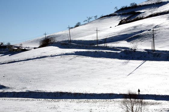 1월의 안반데기. 안반데기는 기록적이 폭설로 악명이 자자한 지역이다. 이 엄청난 눈을 즐기려고 겨울에 일부러 안반데기에 오르는 사람도 있다. 손민호 기자