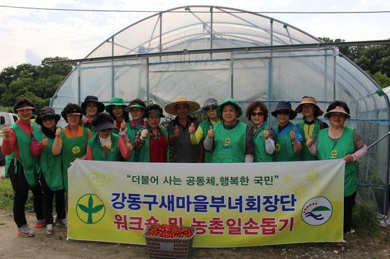 강동구새마을부녀회원들과 함께 1박2일로 충북 진천에서 농촌일손을 도왔다. 오른쪽에서 다섯번째 사람이 나다. [사진 한상림]