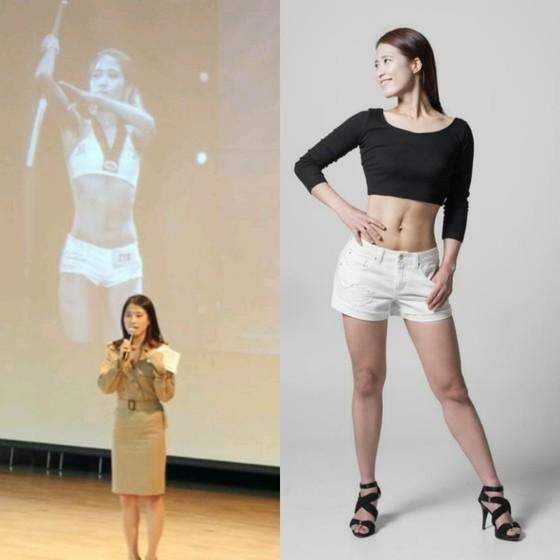 대한태권도협회 강단에서 다이어트 성공사례 발표했던 모습(왼쪽)과 10주 동안 14kg 감량 후 바디프로필 촬영한 모습(오른쪽). [사진 박승현]