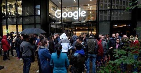 영국 런던 구글 지사의 동맹파업 현장 [연합뉴스]