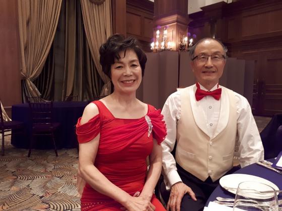 2017년 부부 스포츠 댄스 추계 발표회에서 남편과 함께. [사진 박명자]