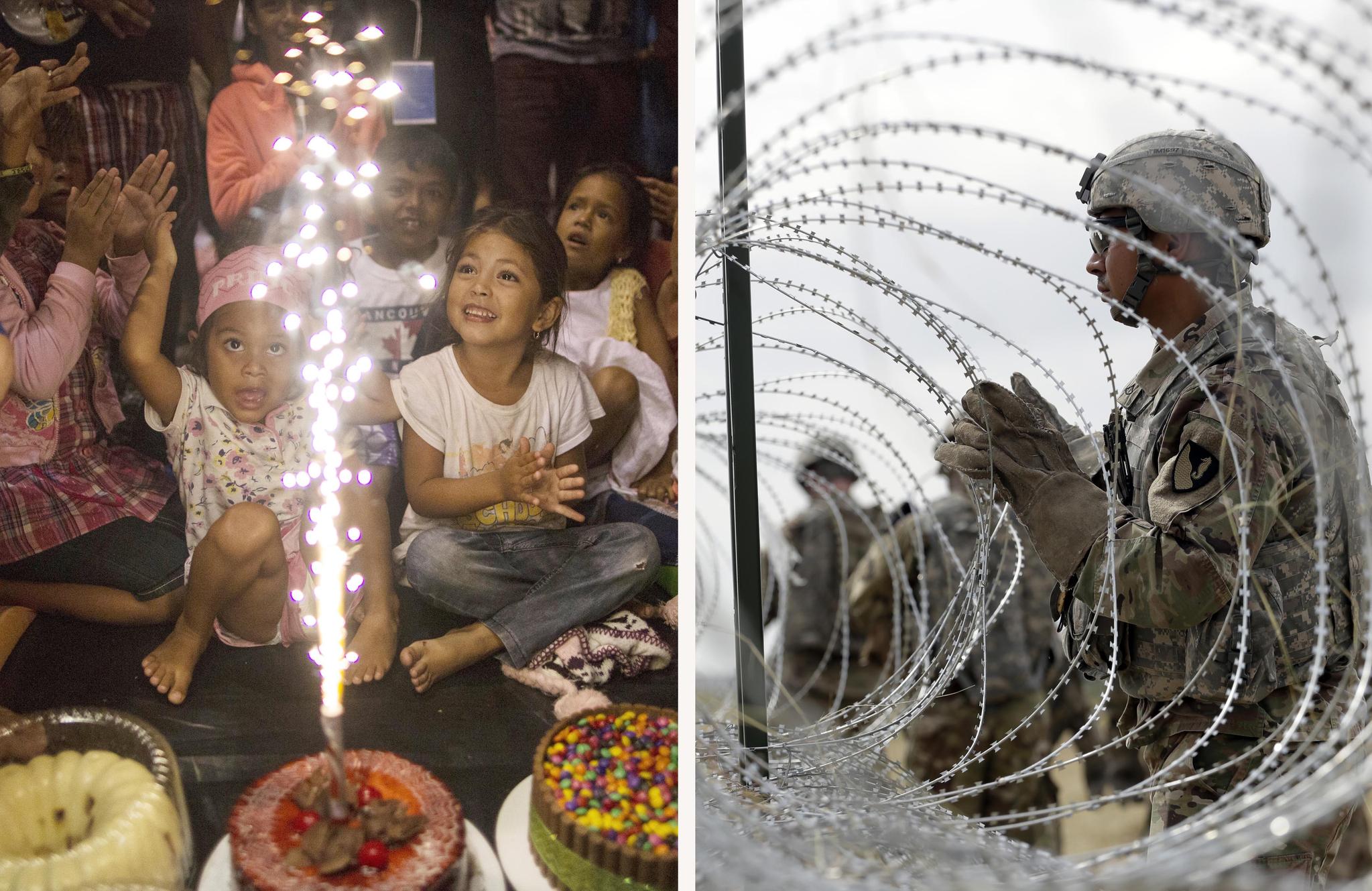 이민자 어린이 빅토리아 파체코의 생일 파티가 4일(현지시간) 멕시코 베라크루즈 주 코르도바 임시 보호소에서 열렸다(왼쪽 사진). 같은날 미군이 미국-멕시코 국경 인근인 텍사스 도나에서 국방부와 세관 국경 보호국을 위한 캠프 주변에 가시 철조망을 설치하고 있다. [AP=연합뉴스]