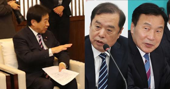 일본 의원 방한단(왼쪽)이 5일 국회를 찾아 김병준 한국당 비대위원장과 손학규 바른미래당 대표(오른쪽)를 만났다. 일본 의원 방한단은 대법원의 강제징용 판결을 수용할 수 없다고 항의했다. [연합뉴스,뉴스1]