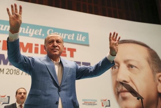 사우디 공격에 앞장서고 있는 터키의 에르도안 대통령. [AP=연합뉴스]