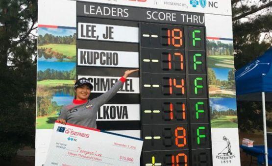 LPGA Q시리즈를 1위로 마친 뒤 스코어가 적힌 리더보드 앞에서 활짝 웃는 이정은. [사진 크라우닝]